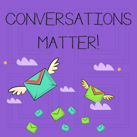 Writing note showing Conversations Matter. Business concept for generate new and meaningful knowledge Positive action Colorful Airmail Letter Envelopes and Two of Them with Wings Banco de Imagens