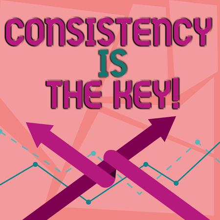 Escritura de texto Word la consistencia es la clave. Exhibición fotográfica de negocios rompiendo malos hábitos y formando buenos dos flechas donde una se entrelaza con la otra como equipo o competencia