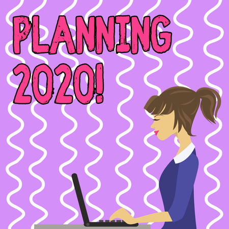 Conceptual hand writing showing Planning 2020. Concept meaning process of making plans for something next year Strip Size Lined Paper Sheet Hanging Using Blue Clothespin Archivio Fotografico - 121049893
