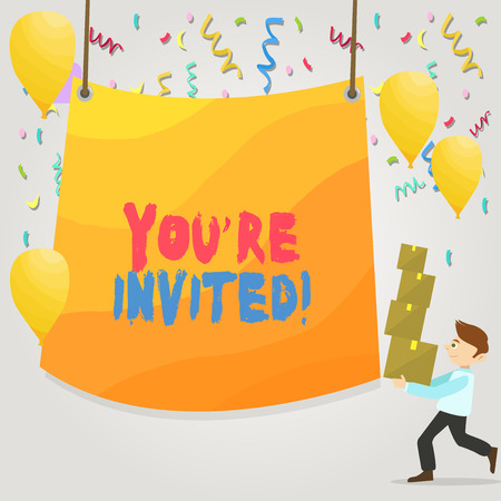 Conceptual hand writing showing You Re Invited. Concept meaning make a polite friendly request to someone go somewhere Man Carrying Pile of Boxes with Tarpaulin in Center Balloons