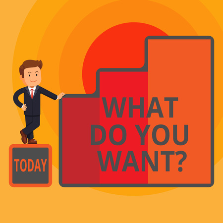 Word writing text What Do You Want Question. Business photo showcasing say or write in order to ask demonstrating about something Happy Businessman Presenting Growth and Success in Rising Bar Graph Co