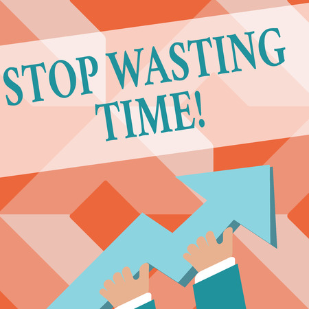 Writing note showing Stop Wasting Time. Business concept for advising demonstrating or group start planning and use it wisely photo of Hand Holding Colorful Huge 3D Arrow Pointing and Going Up