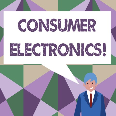 Writing note showing Consumer Electronics. Business concept for consumers for daily and noncommercial purposes Businessman Smiling and Talking Blank Color Speech Bubble