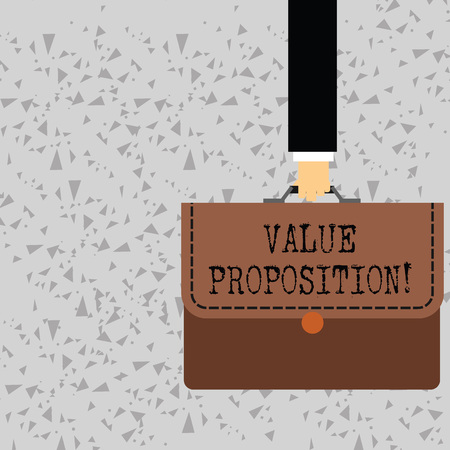 Word writing text Value Proposition. Business photo showcasing innovation service intended make product attractive Businessman Hand Carrying Colorful Briefcase Portfolio with Stitch Applique Stock Photo