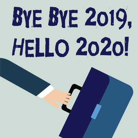 Writing note showing Bye Bye 2019 Hello 2020. Business concept for saying goodbye to last year and welcoming another good one Rushing Businessman Swayed Farther Back and Holding Briefcase 스톡 콘텐츠