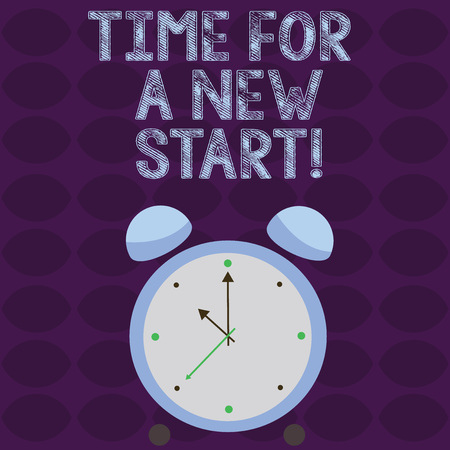 Conceptual hand writing showing Time For A New Start. Concept meaning something is supposed to begin right now Fresh job Colorful Round Analog Two Bell Alarm Desk Clock Hand photo Standard-Bild
