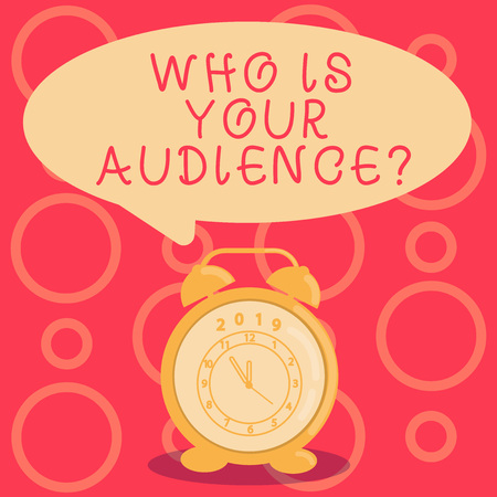 Text sign showing Who Is Your Audience Question. Business photo showcasing who is watching or listening to it Round Blank Speech Balloon in Pastel Shade and Colorful Analog Alarm Clock