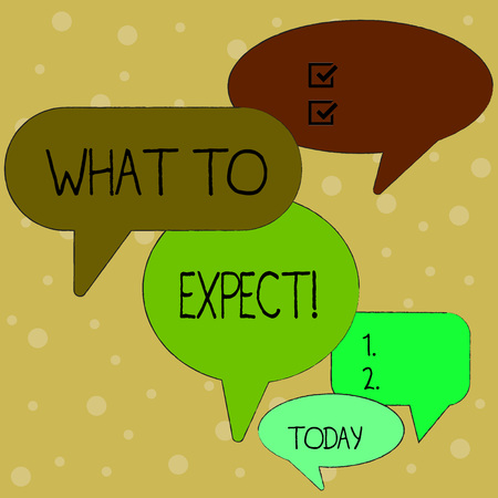 Text sign showing What To Expect. Business photo text asking about regard something as likely to happen occur Many Color Speech Bubble in Different Sizes and Shade for Group Discussion Stock Photo