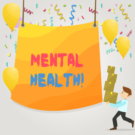 Conceptual hand writing showing Mental Health. Concept meaning demonstratings condition regard to their psychological well being Man Carrying Pile of Boxes with Tarpaulin in Center Balloons