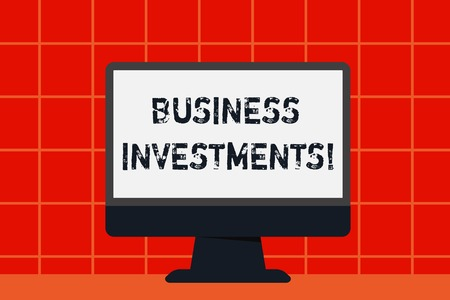 Conceptual hand writing showing Business Investments. Concept meaning act of committing money or capital to an endeavor Desktop Computer Colorful Monitor Screen Freestanding Table 스톡 콘텐츠