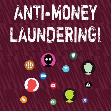 Text sign showing Anti Money Laundering. Business photo showcasing regulations stop generating income through illegal actions Networking Technical Icons with Chat Heads Scattered on Screen for Link Up