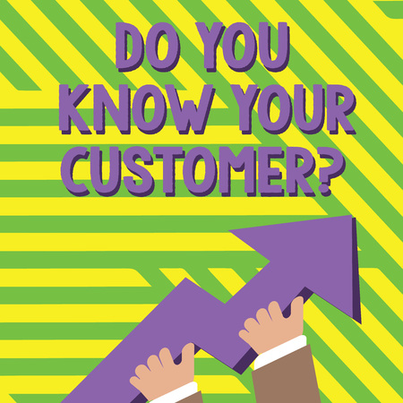 Text sign showing Do You Know Your Customer Question. Business photo text service identify clients with relevant information photo of Hand Holding Colorful Huge 3D Arrow Pointing and Going Up