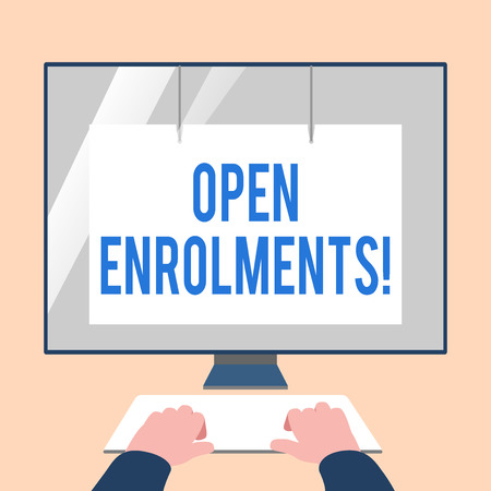 Handwriting text Open Enrolments. Conceptual photo when employees may make changes to elected fringe benefit Hands on Mockup Keyboard Front of Blank White Monitor with Screen Protector Stock fotó