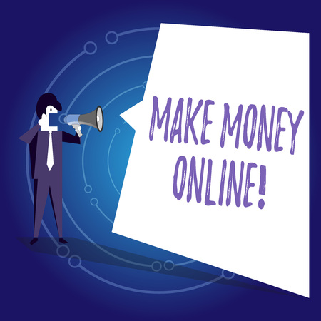Writing note showing Make Money Online. Business concept for making profit using internet like freelancing or marketing Businessman Shouting on Megaphone and White Speech Bubble 스톡 콘텐츠