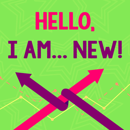 Text sign showing Hello I Am New. Business photo text used greeting or begin telephone conversation Two Arrows where One is Intertwined to the other as Team Up or Competition Stok Fotoğraf