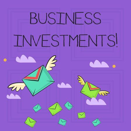 Writing note showing Business Investments. Business concept for act of committing money or capital to an endeavor Colorful Airmail Letter Envelopes and Two of Them with Wings Stock Photo - 121051361