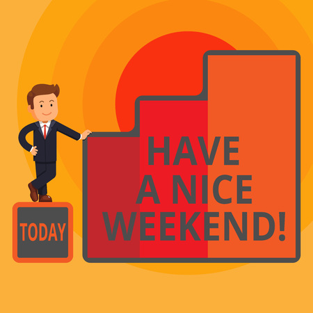 Word writing text Have A Nice Weekend. Business photo showcasing wishing someone that something nice happen holiday Happy Businessman Presenting Growth and Success in Rising Bar Graph Columns