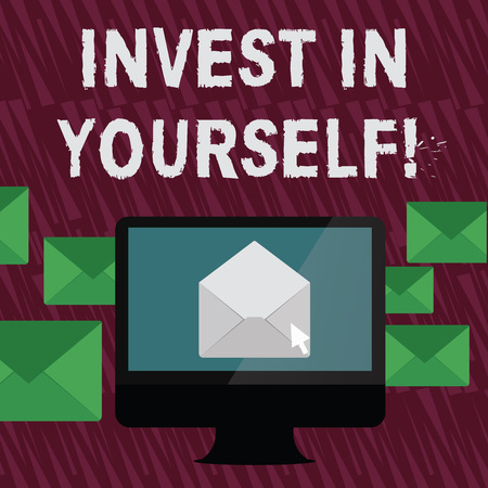 Text sign showing Invest In Yourself. Business photo text learn new things or materials thus making your lot better Open Color Envelope inside Computer Screen. Letter Casing Surrounds the PC Imagens
