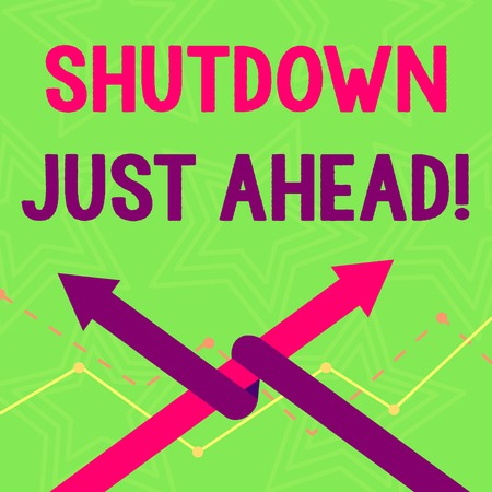 Text sign showing Shutdown Just Ahead. Business photo text closing factory business either short time or forever Two Arrows where One is Intertwined to the other as Team Up or Competition