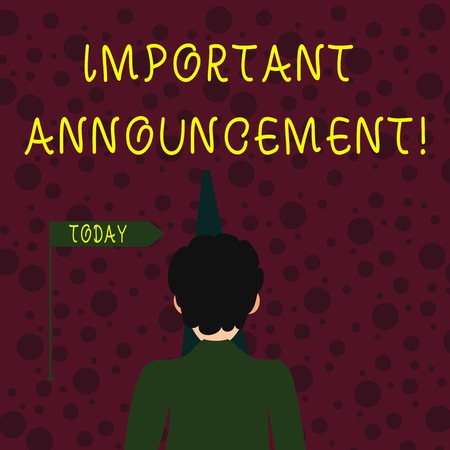 Conceptual hand writing showing Important Announcement. Concept meaning spoken statement that tells showing about something Man Facing Distance and Blocking the View of Straight Path Stock fotó