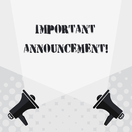 Text sign showing Important Announcement. Business photo text spoken statement that tells showing about something Blank Double Spotlight Crisscrossing Upward from Two Megaphones on the Floor