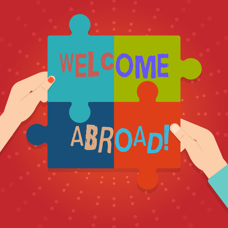 Text sign showing Welcome Abroad. Business photo showcasing something that you say when someone gets on ship Four Blank Multi Color Jigsaw Puzzle Tile Pieces Put Together by Human Hands
