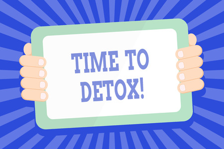 Text sign showing Time To Detox. Business photo text when you purify your body of toxins or stop consuming drug Color Tablet Smartphone with Blank Screen Handheld from the Back of Gadget 스톡 콘텐츠