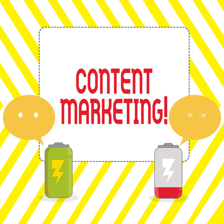 Conceptual hand writing showing Content Marketing. Concept meaning involves creation and sharing of online material Fully Charge and Discharge Battery with Emoji Speech Bubble Stok Fotoğraf