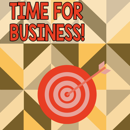 Word writing text Time For Business. Business photo showcasing fulfil transactions within period promised to client Color Dart Board in Concentric Style with Arrow Hitting the Center Bulls Eye