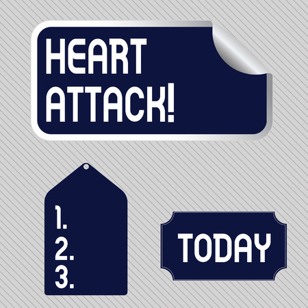 Text sign showing Heart Attack. Business photo showcasing sudden occurrence of coronary thrombosis resulting in death Blank Color Label, Self Adhesive Sticker with Border, Bended Corner and Tag