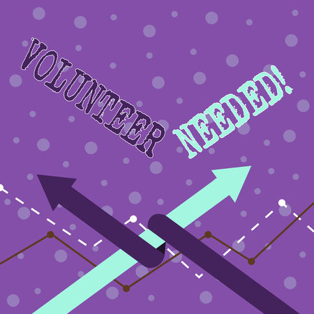 Handwriting text writing Volunteer Needed. Conceptual photo asking demonstrating to work for organization without being paid Two Arrows where One is Intertwined to the other as Team Up or Competition Banco de Imagens