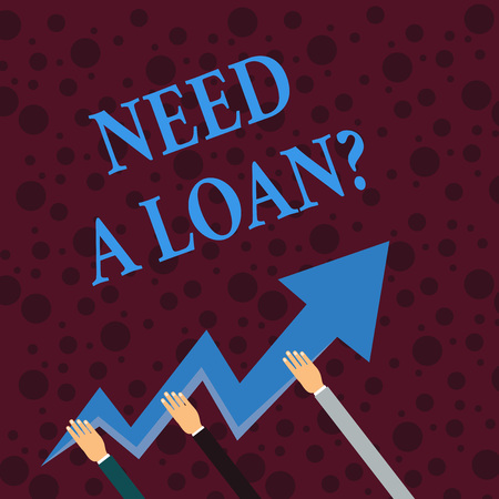 Conceptual hand writing showing Need A Loan Question. Concept meaning asking he need money expected paid back with interest Hands Holding Zigzag Lightning Arrow Pointing and Going Up Foto de archivo