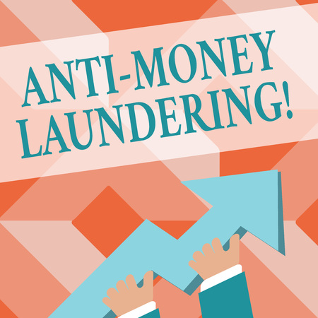 Writing note showing Anti Money Laundering. Business concept for regulations stop generating income through illegal actions photo of Hand Holding Colorful Huge 3D Arrow Pointing and Going Up