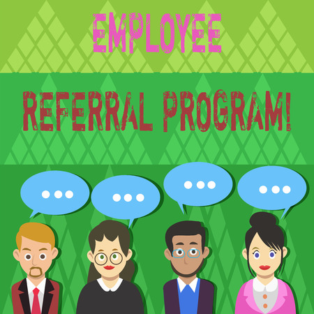 Text sign showing Employee Referral Program. Business photo text internal recruitment method employed by organizations Group of Business People with Blank Color Chat Speech Bubble with Three Dots