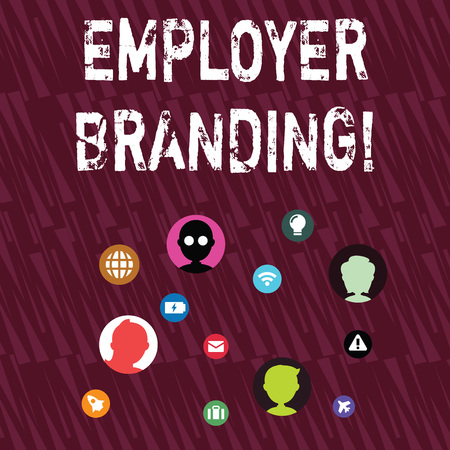 Text sign showing Employer Branding. Business photo showcasing promoting company employer choice to desired target group Networking Technical Icons with Chat Heads Scattered on Screen for Link Up 版權商用圖片