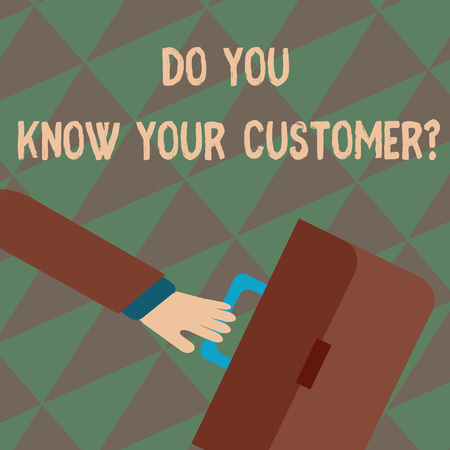 Text sign showing Do You Know Your Customer Question. Business photo showcasing service identify clients with relevant information Rushing Businessman Arm Swayed Farther Back and Hand Holding Color Briefcase Stock fotó
