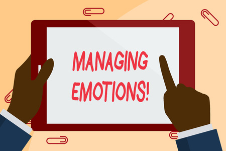 Writing note showing Managing Emotions. Business concept for ability be open to feelings and modulate them in oneself Businessman Hand Holding and Pointing Colorful Tablet Screen 스톡 콘텐츠