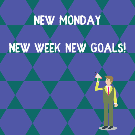 Word writing text New Monday New Week New Goals. Business photo showcasing goodbye weekend starting fresh goals targets Businessman Looking Up, Holding and Talking on Megaphone with Volume Icon