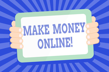 Text sign showing Make Money Online. Business photo text making profit using internet like freelancing or marketing Color Tablet Smartphone with Blank Screen Handheld from the Back of Gadget