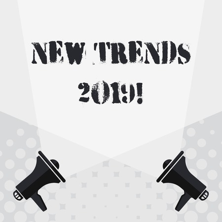 Text sign showing New Trends 2019. Business photo text general direction in which something is developing Blank Double Spotlight Crisscrossing Upward from Two Megaphones on the Floor