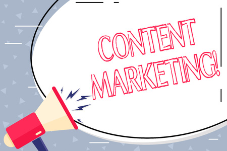 Text sign showing Content Marketing. Business photo showcasing involves creation and sharing of online material Blank White Huge Oval Shape Sticker and Megaphone Shouting with Volume Icon