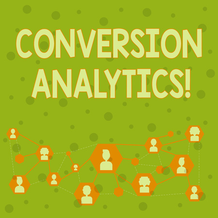 Word writing text Conversion Analytics. Business photo showcasing action that s is counted when someone interacts with ad Online Chat Head Icons with Avatar and Connecting Lines for Networking Idea Stock fotó