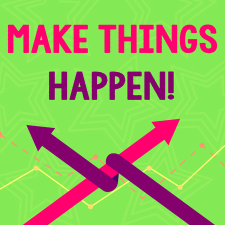 Text sign showing Make Things Happen. Business photo text you will have to make hard efforts in order to achieve it Two Arrows where One is Intertwined to the other as Team Up or Competition
