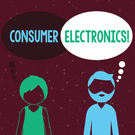 Handwriting text writing Consumer Electronics. Conceptual photo consumers for daily and noncommercial purposes Bearded Man and Woman Faceless Profile with Blank Colorful Thought Bubble Reklamní fotografie
