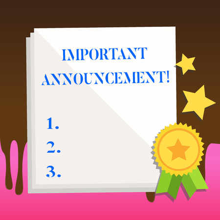 Text sign showing Important Announcement. Business photo text spoken statement that tells showing about something White Blank Sheet of Parchment Paper Stationery with Ribbon Seal Stamp Label