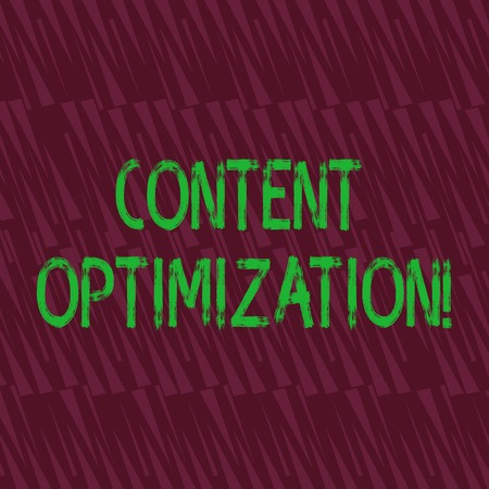 Conceptual hand writing showing Content Optimization. Concept meaning techniques to improve search results and ranking Seamless Isosceles Triangle Maroon Tone in Abstract Pattern Standard-Bild
