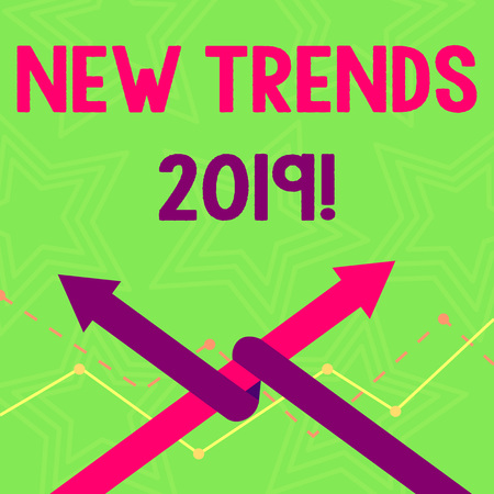 Text sign showing New Trends 2019. Business photo text general direction in which something is developing Two Arrows where One is Intertwined to the other as Team Up or Competition