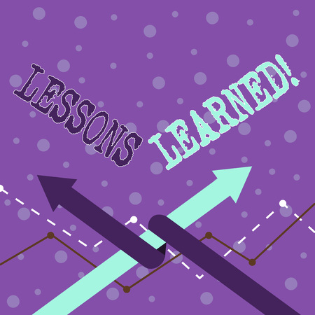 Handwriting text writing Lessons Learned. Conceptual photo experiences distilled project that should actively taken Two Arrows where One is Intertwined to the other as Team Up or Competition