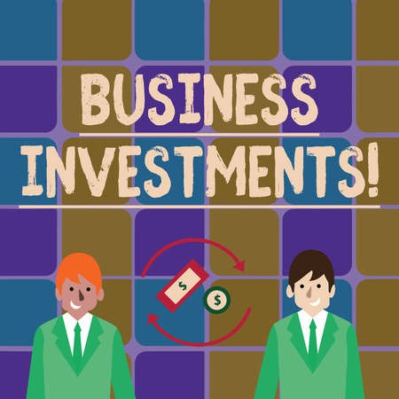Handwriting text writing Business Investments. Conceptual photo act of committing money or capital to an endeavor Money in Dollar Currency Sign Inside Rotating Arrows Between Two Businessmen Foto de archivo