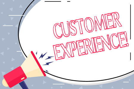 Text sign showing Customer Experience. Business photo showcasing product of interaction between organization and buyer Blank White Huge Oval Shape Sticker and Megaphone Shouting with Volume Icon 스톡 콘텐츠